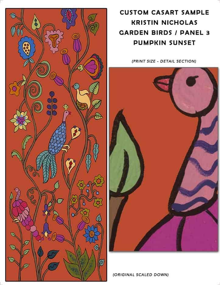 Casart Coverings Custom Kristin Nicholas Garden Birds_Pumpkin Sunset Sample1
