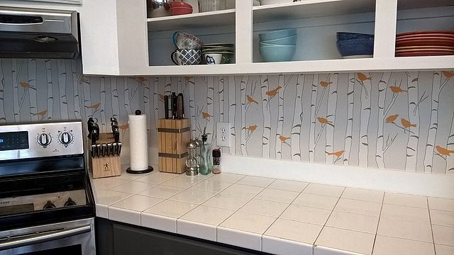 After: Kitchen with some painted cabinetry and Casart wallcovering 2