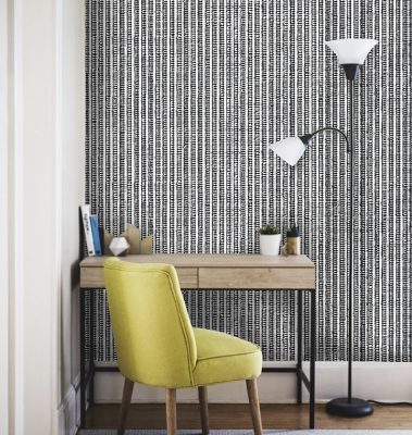 Casart Coverings Black-White_Grasscloth_Room with removable wallpaper