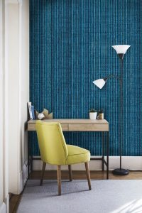 Casart Coverings Electric Blue_Grasscloth Room with removable wallpaper