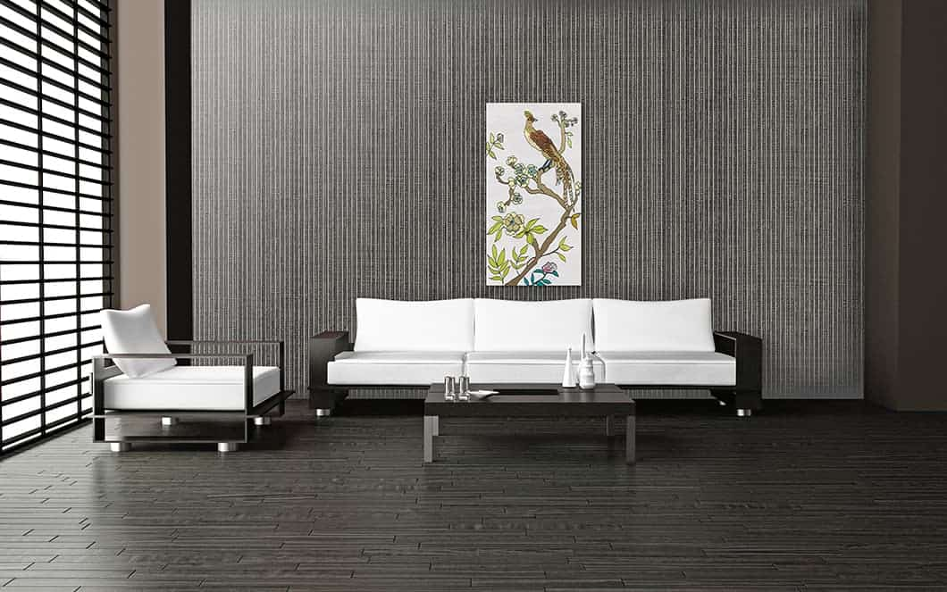 Modern Room w Casart Coverings Grasscloth temporary wallpaper_Chinoiserie Panel