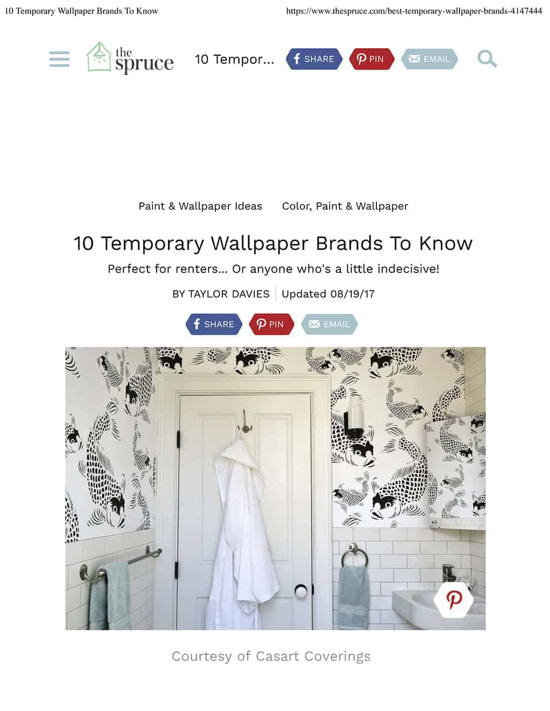 Casart Coverings via The Spruce 10 top temporary wallpaper brands to know_press
