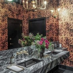 Casart Coverings Faux Tortoiseshell removable wallpaper used in Legacy Records interior design by Ken Fulk
