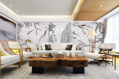 Casart Coverings China Etching Mural paired with Asia Blossom Silver Gray with colored blossoms removable wallpaper