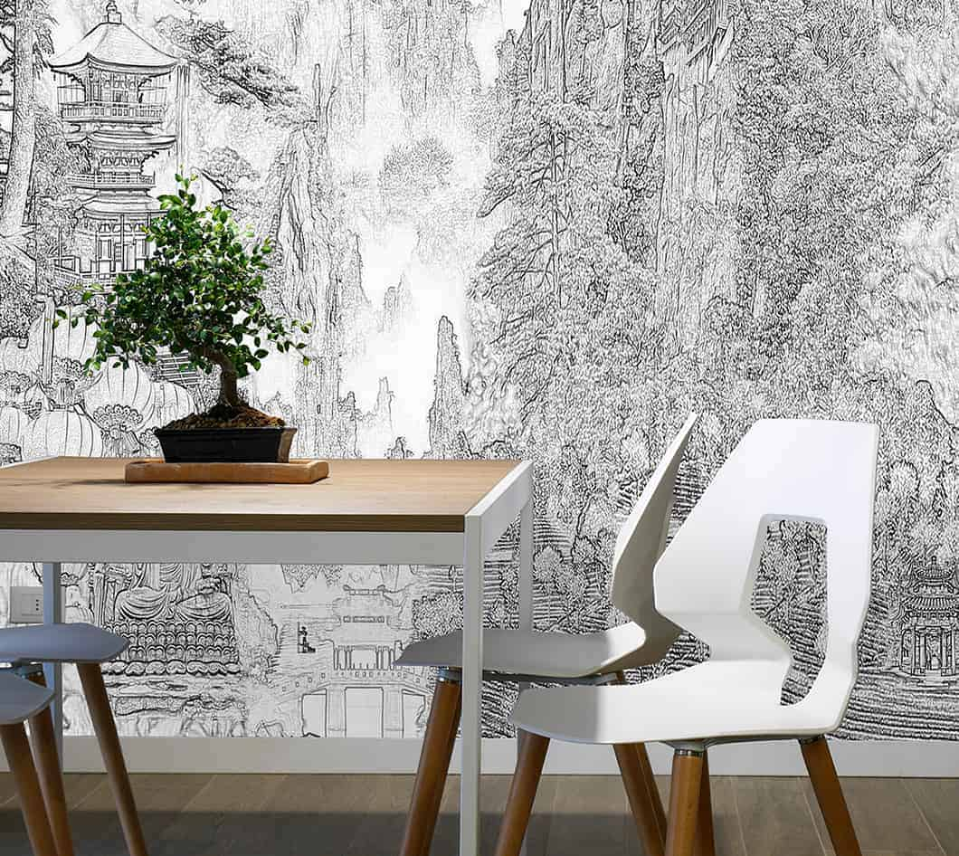 Casart Coverings Modern China Interior Vignette_detail etching temporary wallpaper mural