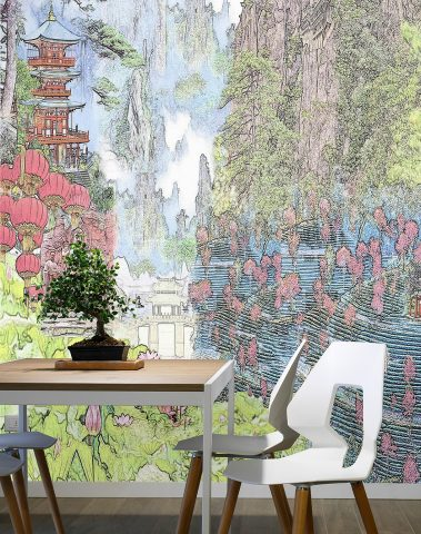 Casart Coverings Modern China Mural Interior Vignette Color Closeup removable wallpaper
