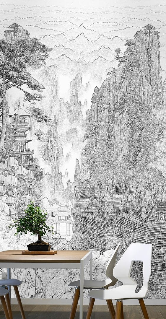 Casart Coverings Full view China Etching Mural temporary wallpaper