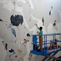 InkDwell uses Casart removable wallpaper as stencils on African-Section-of-Cornell mural