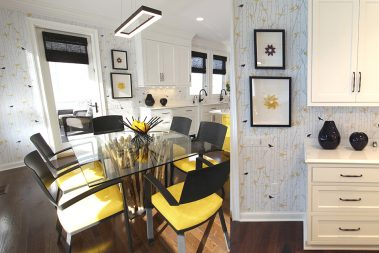 Casart Coverings Custom Birds Birch removable wallpaper in kitchen