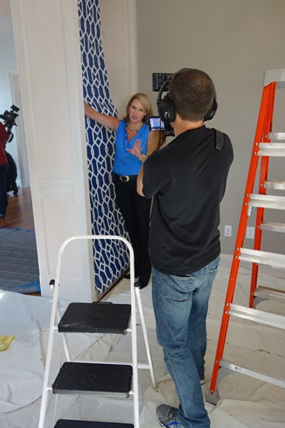 Installing Casart Coverings custom printed pattern removable wallpaper for House Beautiful photo shoot