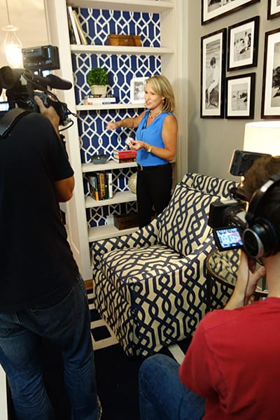 Installing Casart Coverings custom printed pattern removable wallpaper for House Beautiful photo shoot 3