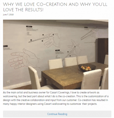 Casart Coverings Co-create removable wallpaper project example. Click to read the entire article!
