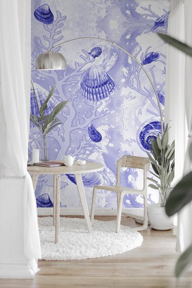 Example of Deep Blue Shells custom enlarged Casart Coverings removable wallpaper