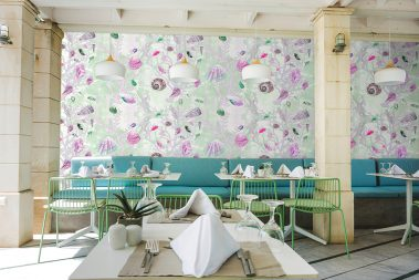 Casart Coverings Green Pink Shells removable wallpaper in restaurant
