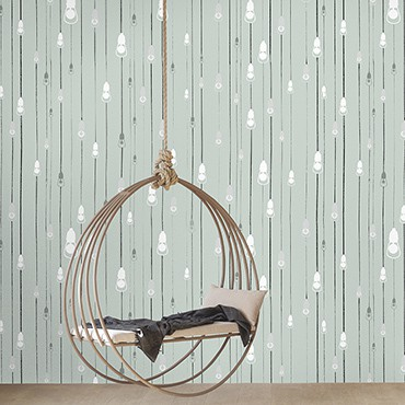 Casart Coverings Light Rain temporary wallpaper pattern with hanging chair