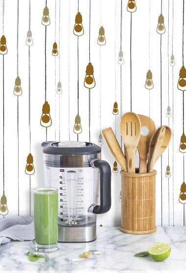 Casart Coverings Light Rain removable wallpaper in Golden colorway adds charm to any kitchen