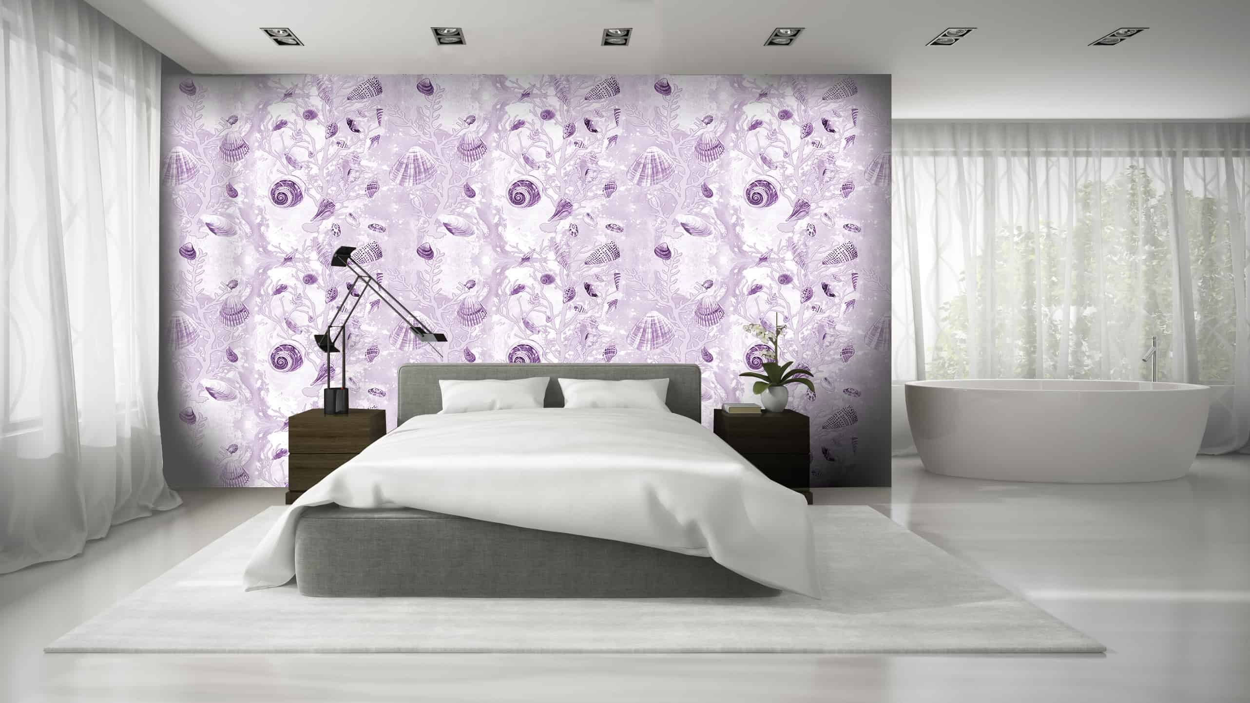 Casart Coverings Mauve Shells removable wallpaper in white bedroom