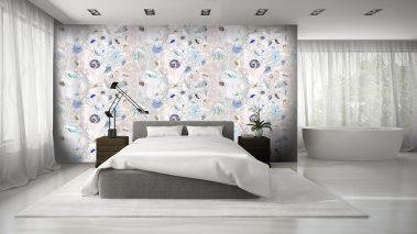 Casart Coverings Orange-Blue Shells removable wallpaper in modern bedroom