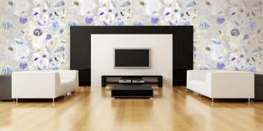 Casart Coverings New Sea Life Series Yellow-Purple Shells removable wallpaper in modern entertainment room