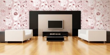 Casart Coverings Sepia Shells removable wallpaper in Modern Entertainment Room