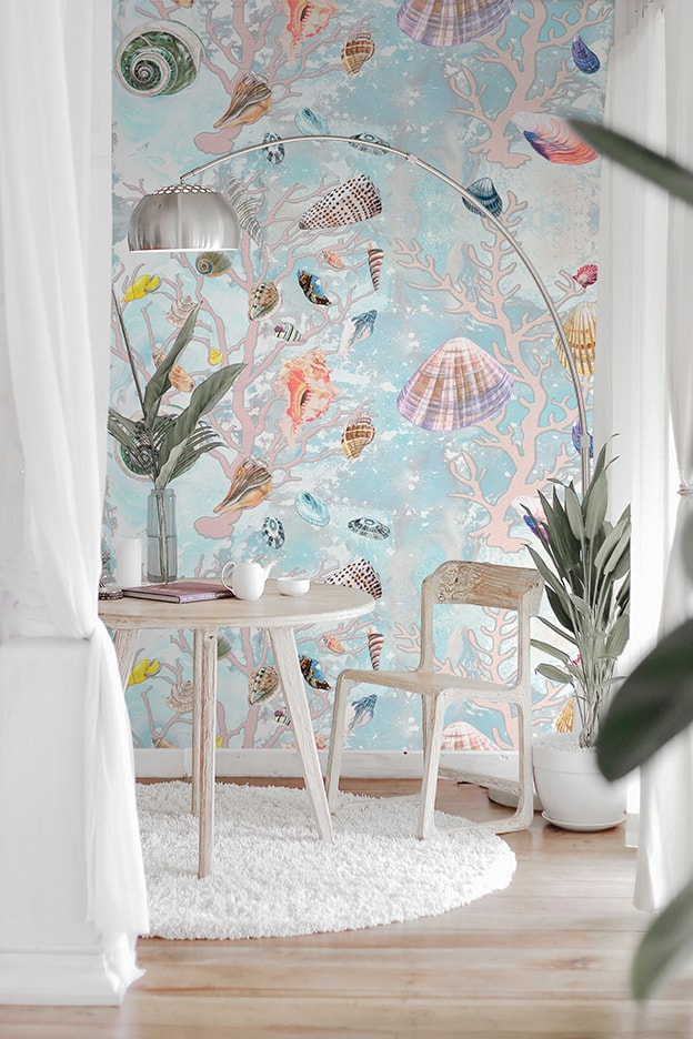 Casart Coverings Natural Shells Coral Sea Spray removable wallpaper in white Room Vignette