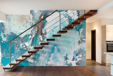 Casart Coverings removable wallpaper Sea Spray Mural in Modern Loft with Stairs