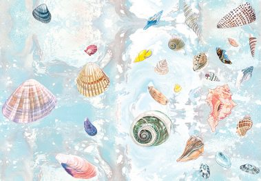 Casart Coverings Natural Shells Sea Spray Background removable wallpaper