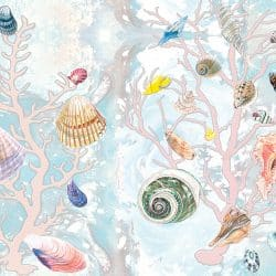 Casart Coverings Natural Shells with Sea Spray Coral Background removable wallpaper