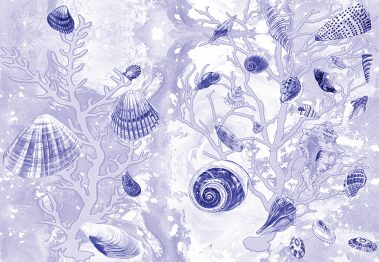 Casart Coverings Deep Blue Shells Sea Spray Coral Background removable wallpaper