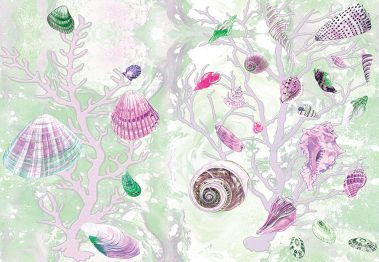Casart Coverings Green-Pink Shells Sea Spray Coral Background removable wallpaper