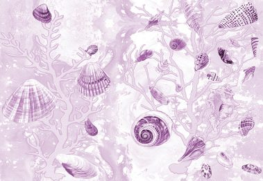 Casart Coverings Mauve Shells removable wallpaper