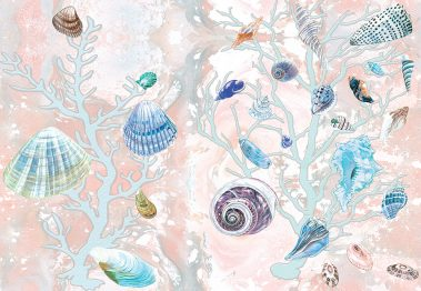 Casart Coverings Orange-Blue Shells Sea Spray Coral Background removable wallpaper