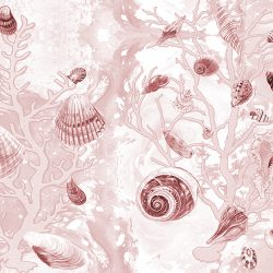 Casart Coverings Sepia Shells Sea Spray Coral Background removable wallpaper