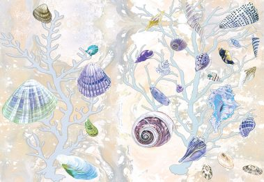 Casart Coverings Yellow-Purple Shells Sea Spray Coral Background removable wallpaper