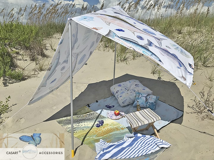 Casart Sun Shade and Outdoor Sea Life Decor Items on beach