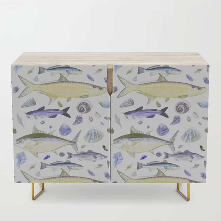 Casart Cabinet Credenza Shell Fish Purple Yellow
