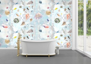 Casart Shells Sea Life removable wallpaper in bathroom