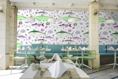 Casart Coverings removable wallpaper Shell Fish Green Pink in Reasturant