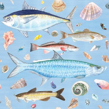 Casart Coverings Shell Fish Natural Watercolor Background removable wallpaper