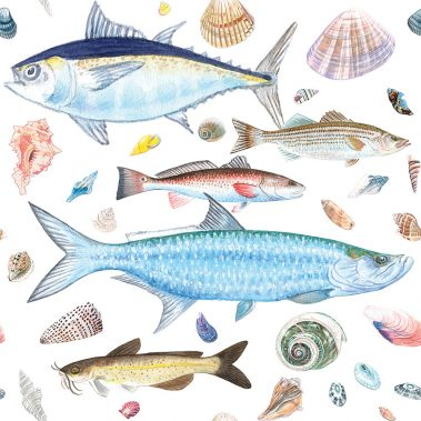 Casart Coverings Shell Fish Natural White Background removable wallpaper