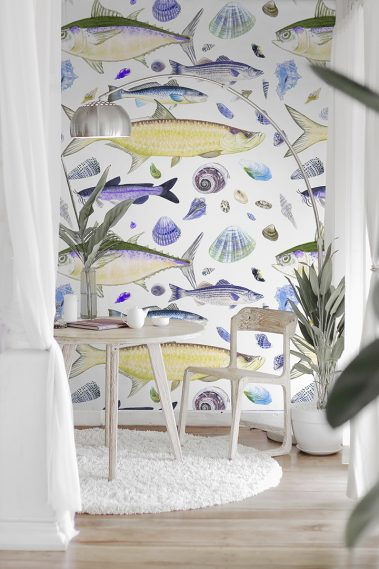 Casart Coverings Shell Fish Orange-Purple temporary wallpaper New Sea Life Series in White Room Vignette