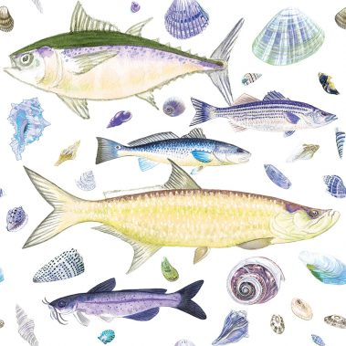 Casart Coverings Shell Fish Yellow Purple White Background removable wallpaper