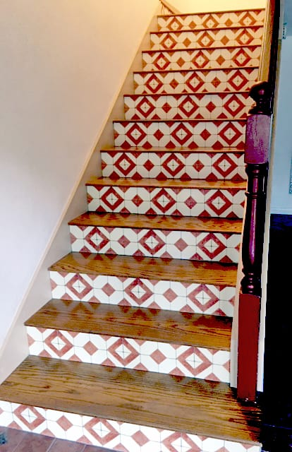 Stair Risers After Casart Custom Casart Faux Tile Wallcovering
