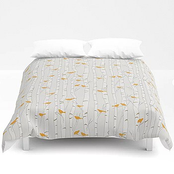Casart Duvet Orange Birds Beige Birch in Casart Society6 Shop