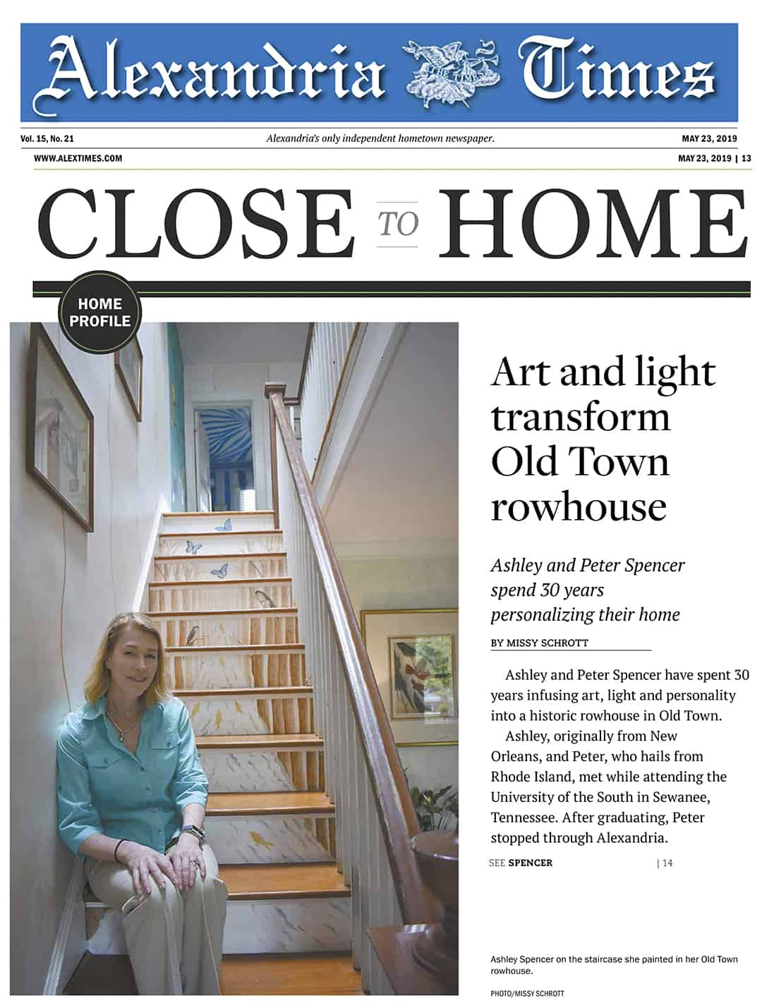 Artist Ashley Spencer and home featured in Alexandria Times