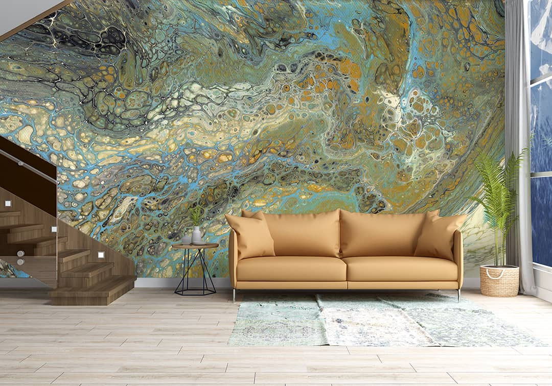 Casart Coverings reusable wallpaper Wave 2 Mural h Living Room
