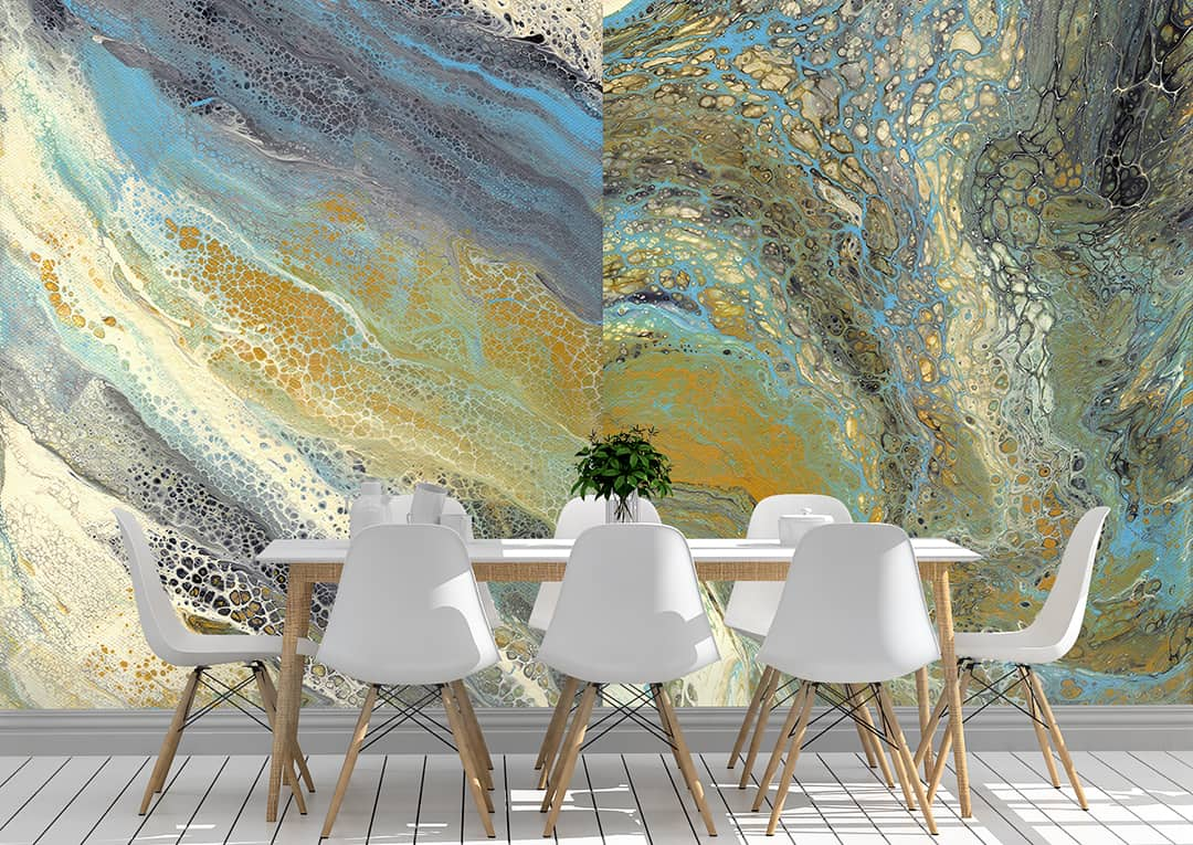 Casart Coverings Wave Art Murals self adhesive wallpaper with Dining Room Chairs