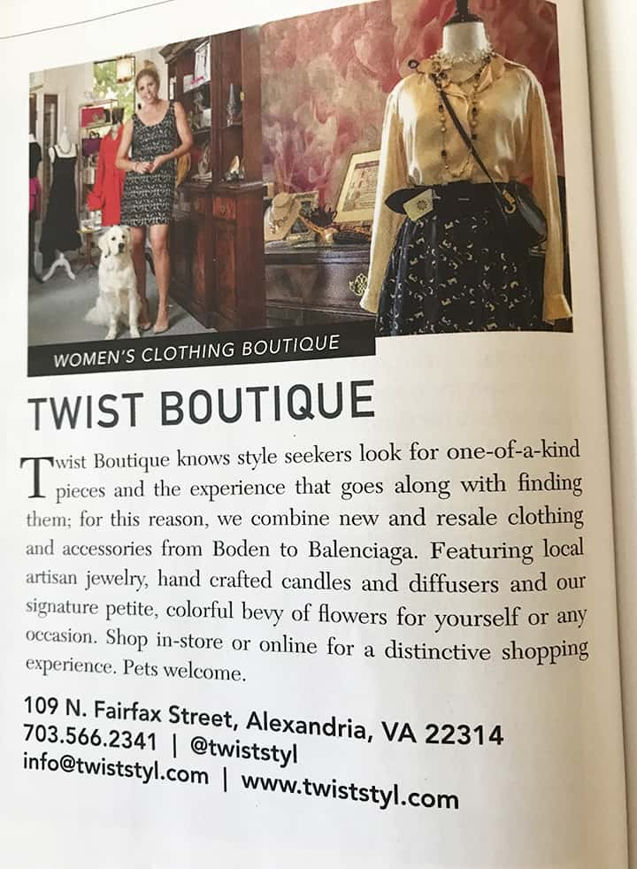 Twist Boutique Retail Shop uses Casart Coverings removable wallpaper in Washingtonian Ad