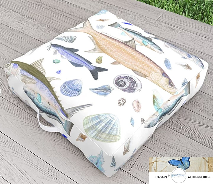 Casart Shell Fish Orange Blue Floor Pillow
