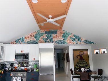 Casart Customer completes Koi Fish Pond Mural removable wallpaper installation in kitchen